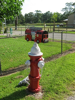Fire Truck Novelty Mailbox Installed