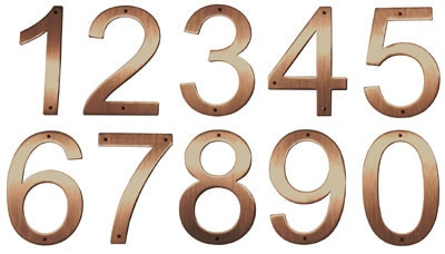5 Inch Raw Brushed Satin Copper Address Numbers