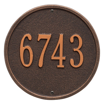 Whitehall Round Aluminum Address Plaque