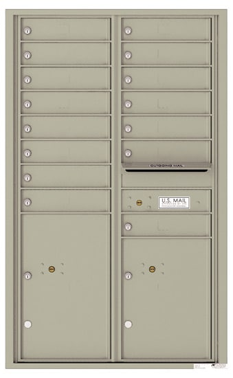 4C14D-15 Front Loading Private Use Commercial 4C Mailboxes – 15 Tenant Doors 2 Parcel Lockers