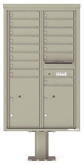 4C14D-15-P Commercial 4C Pedestal 4C Mailboxes – 15 Tenant Doors 2 Parcel Lockers