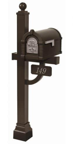 Gaines FleurDeLis Keystone Mailbox Deluxe Post