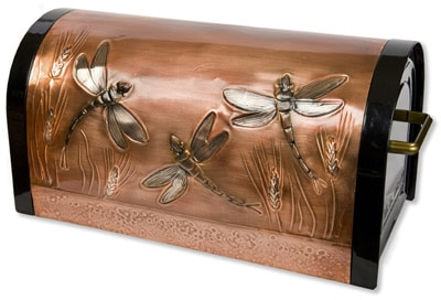 Hentzi Mailboxes Copper Waste Baskets and Wall Art