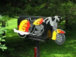 Motorcycle Novelty Mailbox Installed