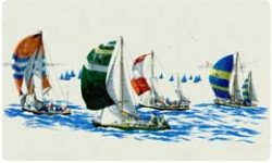 Bacova Oval Sailboats 10017