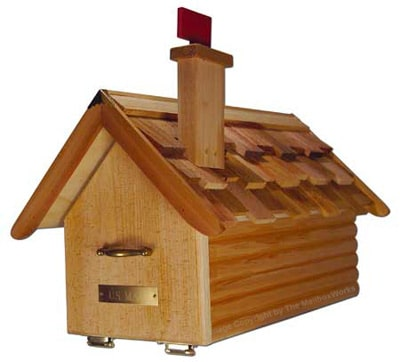 Cedar Wood Loghouse Mailboxes Post