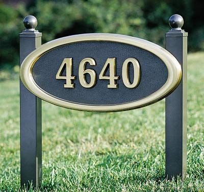 Large Oval Address Plaque with Lawn Plaque Kit