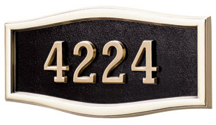 Gaines Large Roundtangle Wall Address Plaque with Polished Brass Frame Product Image