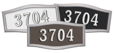 Gaines Large Roundtangle Address Plaque with Satin Nickel Frame