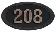 Gaines Small Oval Black Bronze Numbers