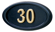 Gaines Small Oval Black Brass Numbers