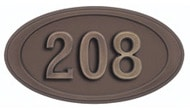 Gaines Small Oval Black Antique Numbers