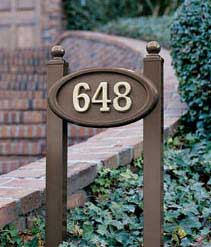 Small Oval Address Plaque with Lawn Plaque Kit