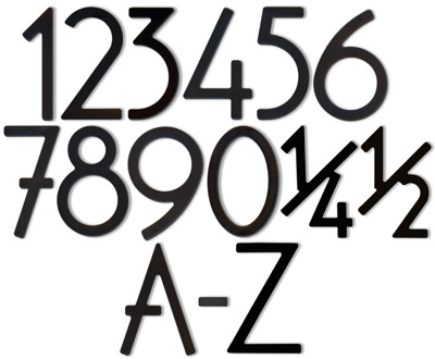 HouseArt Black House Address Numbers Letters