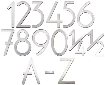 Stainless Steel 3 Inch House Numbers and Letters