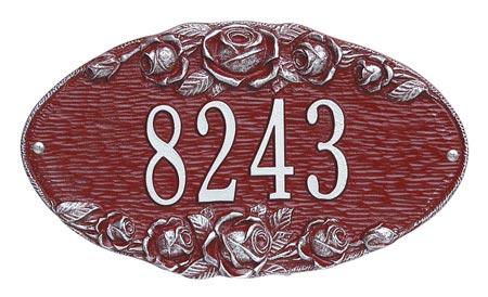 Whitehall Rose Oval Address Plaque