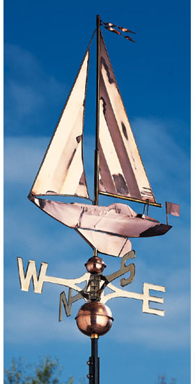 Whitehall Copper Sailboat Classic Weathervane