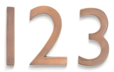 Laguna House Numbers Copper Close Up