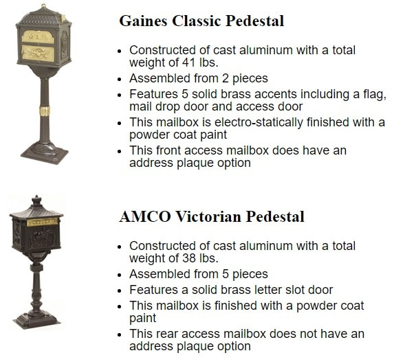 Gaines Classic Compared To AMCO Victorian Mailbox