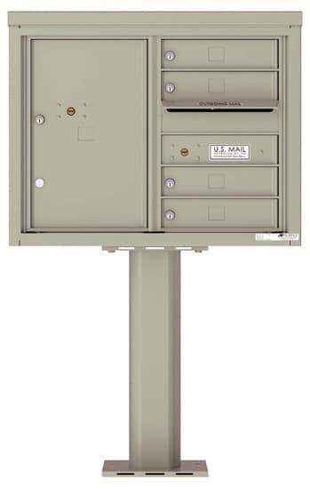 4C06D-04-P Commercial 4C Pedestal Mailboxes – 4 Tenant Doors 1 Parcel Locker Product Image