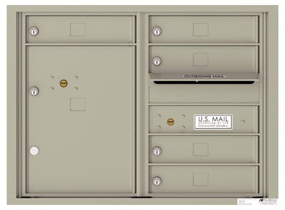 4C06D-05 Front Loading Commercial Surface Mount 4C Mailboxes – 5 Tenant Doors 1 Parcel Locker