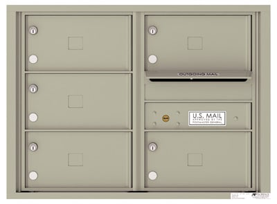 4C06D-05X Front Loading Commercial Surface Mount 4C Mailboxes – 5 Tenant Doors