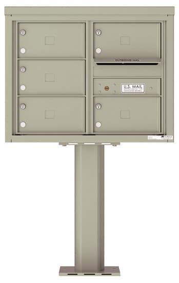 4C06D-05X-P Commercial 4C Pedestal Mailboxes – 5 Tenant Doors