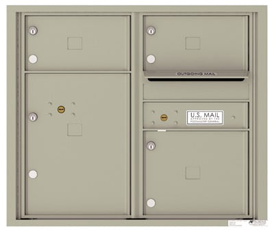 4C07D-03 Front Loading Commercial Surface Mount 4C Mailboxes – 3 Tenant Doors 1 Parcel Locker