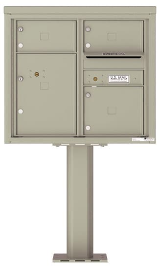 4C07D-03-P Commercial 4C Pedestal Mailboxes – 3 Tenant Doors 1 Parcel Locker