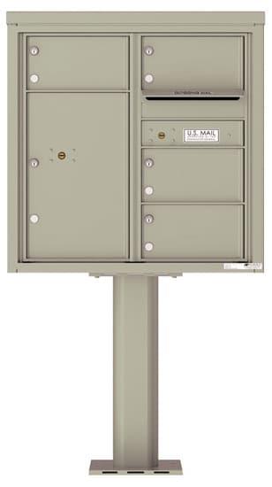 4C08D-04-P Commercial 4C Pedestal Mailboxes – 4 Tenant Doors 1 Parcel Locker