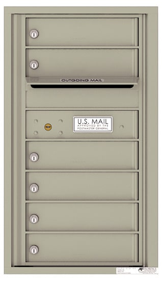 4C08S-06 Front Loading Commercial Surface Mount 4C Mailboxes – 6 Tenant Doors