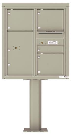 4C09D-04-P Commercial 4C Pedestal Mailboxes – 4 Tenant Doors 1 Parcel Locker