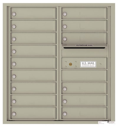 4C09D-15 Front Loading Commercial Surface Mount 4C Mailboxes – 15 Tenant Doors