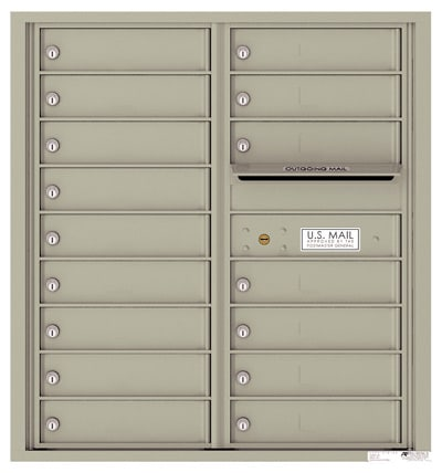 4C09D-16 Front Loading Commercial Surface Mount 4C Mailboxes – 16 Tenant Doors