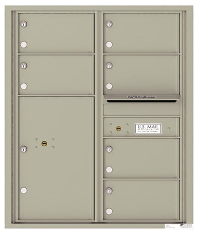 4C10D-06 Front Loading Private Use Commercial 4C Mailboxes – 6 Tenant Doors 1 Parcel Locker Product Image