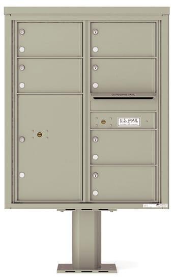 4C10D-06-P Commercial 4C Pedestal Mailboxes – 6 Tenant Doors 1 Parcel Locker
