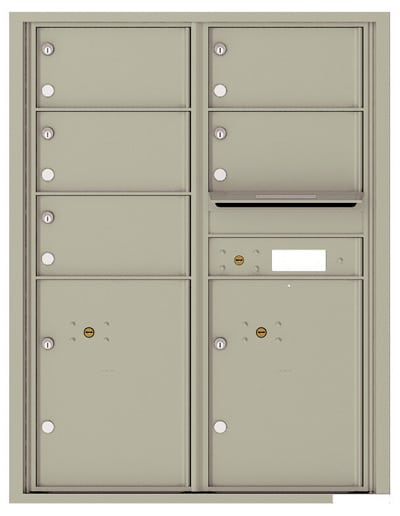 4C11D-05 Front Loading Commercial Surface Mount 4C Mailboxes – 5 Tenant Doors 2 Parcel Lockers