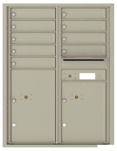 4C11D-09 Front Loading Private Use Commercial 4C Mailboxes – 9 Tenant Doors 2 Parcel Lockers