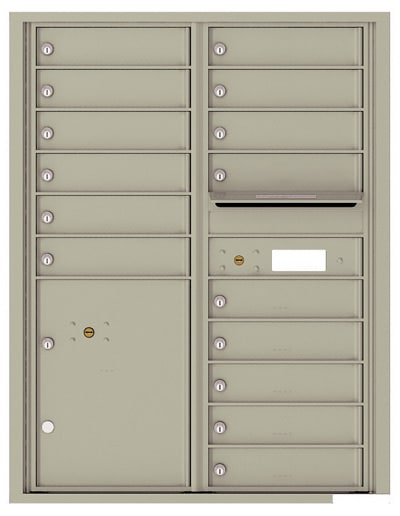 4C11D-15 Front Loading Commercial 4C Mailboxes – 15 Tenant Doors 1 Parcel Locker