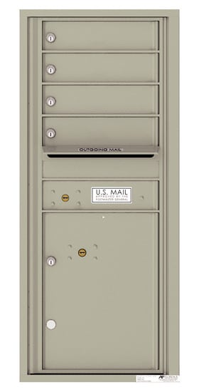 4C11S-04 Front Loading Private Use Commercial 4C Mailboxes – 4 Tenant Doors 1 Parcel Locker