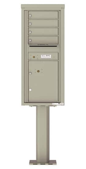 4C11S-04-P Commercial 4C Pedestal Mailboxes – 4 Tenant Doors 1 Parcel Locker