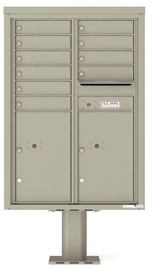 4C12D-10-P Commercial 4C Pedestal Mailboxes – 10 Tenant Doors 2 Parcel Lockers