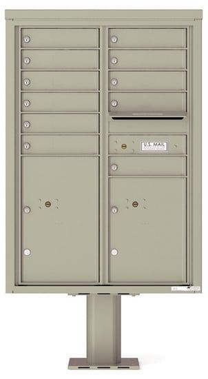4C12D-11-P Commercial 4C Pedestal Mailboxes – 11 Tenant Doors 2 Parcel Lockers