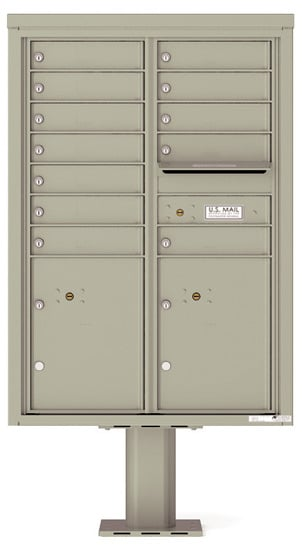 4C12D-12-P Commercial 4C Pedestal Mailboxes – 12 Tenant Doors 2 Parcel Lockers