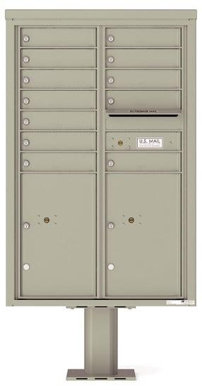 4C13D-12-P Commercial 4C Pedestal Mailboxes – 12 Tenant Doors 2 Parcel Lockers