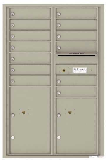 4C13D-13 Front Loading Private Use Commercial 4C Mailboxes – 13 Tenant Doors 2 Parcel Lockers