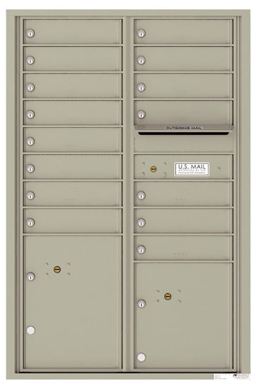 4C13D-15 Front Loading Commercial 4C Mailboxes – 15 Tenant Doors 2 Parcel Lockers