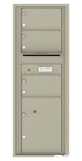4C13S-03 Front Loading Commercial Surface Mount 4C Mailboxes – 3 Tenant Doors 1 Parcel Locker