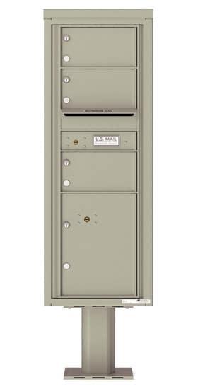 4C13S-03-P Commercial 4C Pedestal Mailboxes – 3 Tenant Doors 1 Parcel Locker