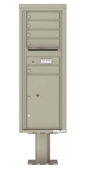 4C13S-05-P Commercial 4C Pedestal Mailboxes – 5 Tenant Doors 1 Parcel Locker